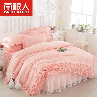 南極人(NanJiren) 床上床裙四件套1.5m1.8米公主風少女心床品韓版床單被套1.2m床三件套網紅款床上用品