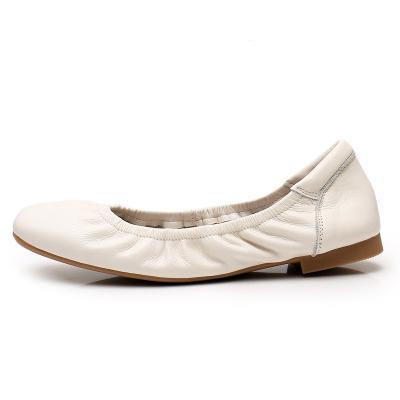 雅夢纖足 真牛皮休閑鞋平底駕車鞋 復古軟皮奶奶鞋淑女低跟單鞋包子鞋