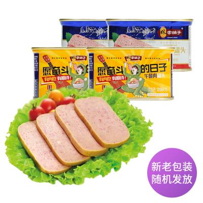 【林家鋪子旗艦店】豬肉午餐肉罐頭200g*4罐早餐即食方便速食火鍋午餐下飯菜