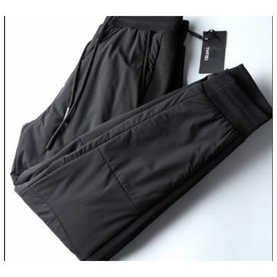 羽绒裤男外穿冬季修身户外保暖新款潮流青年休闲加厚白鸭绒棉裤男黑色