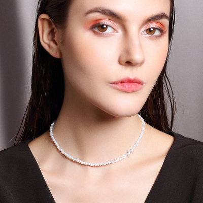 佰色傳情3.5-4mm時尚名媛天然珍珠氣質短款項鏈鎖骨鏈