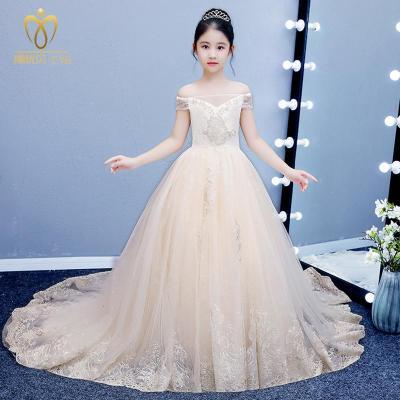 公主裙禮服兒童長拖尾兒童晚蓬蓬紗拖尾超長女童模特走秀婚紗花童鋼琴