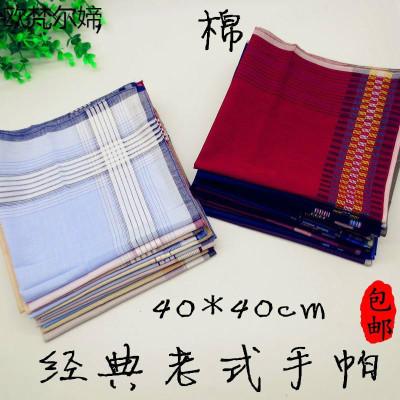 欧梵尔媂3条 老人用男士手帕棉布怀旧吸汗女士老式柔软薄手绢棉