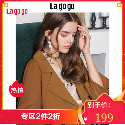 Lagogo/拉谷谷2018秋季新款韩版时尚双排扣长袖风衣女