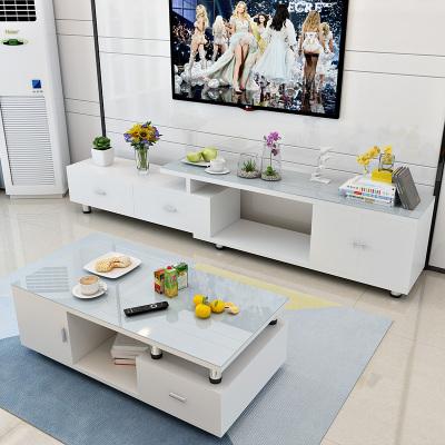 歐梵森 簡約現代小戶型客廳茶幾電視柜組合可伸縮經濟型玻璃茶桌地柜套裝茶幾白色