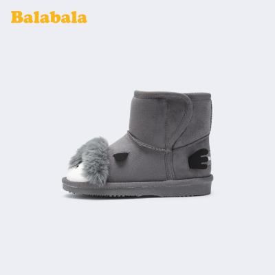 巴拉巴拉女童短靴兒童雪地靴男童2019冬季新款加絨加厚靴子小童鞋