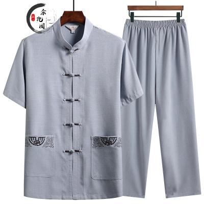 余兆園唐裝男中老年棉麻短袖套裝夏季新款中國風盤扣刺繡老年人復古漢服兩件套