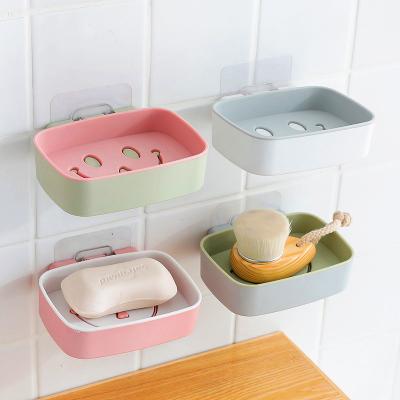 2個裝 雙層皂盒壁掛式肥皂盒瀝水浴室香皂盒笑臉造型無痕粘貼香皂托盤映源