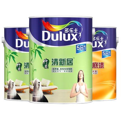 多樂士(Dulux)竹炭清新居五合一乳膠漆內墻面漆 油漆涂料 A895+A931 15L套裝 啞光白色