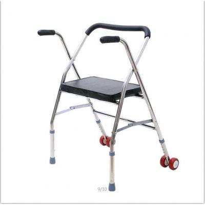 老年手推車雙輪代步車老人帶輪帶座推椅可坐折疊殘疾人助行 不銹鋼帶輪帶座仿皮面