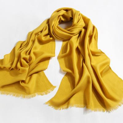 上海故事纯色羊毛围巾女秋冬季保暖披肩两用