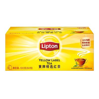 立顿Lipton 红茶 茶叶 黄牌精选红茶50包100g 袋泡茶茶包 办公室休闲下午茶(新老包装随机发货)