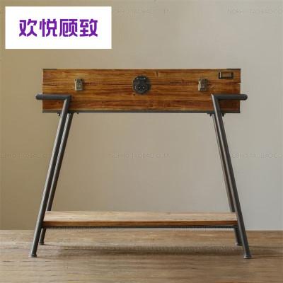 中式復古實木進客廳玄關柜子美式入戶玄關桌鐵藝端景玄關臺定制