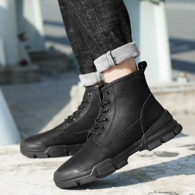 西域駱駝45 46 47 48特大碼青少年冬天馬丁靴鞋男黑色皮面防水加絨雪地靴