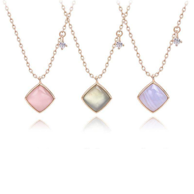 翠惟齋 唯美 s925銀鑲嵌天然半寶石時尚輕奢百搭項鏈 三款可選