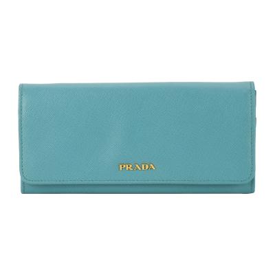 【正品二手99新】PRADA 藍色牛皮翻蓋雙搭扣長錢包 10016813