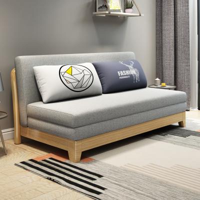 美梦居实木沙发床两用小户型客厅坐卧阳台伸缩可折叠床双人多功能沙发 折叠沙发床 客厅木质和金属框架简约现代风格