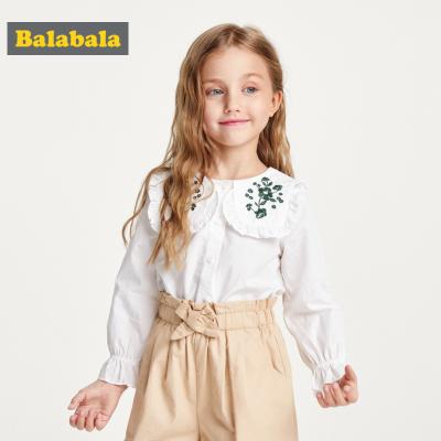 【1件5折】巴拉巴拉女童洋气白衬衫宝宝衬衣秋装2019新款儿童上衣长袖纯棉薄