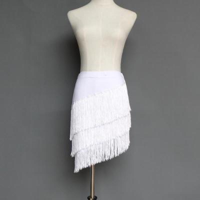 因樂思(YINLESI)拉丁舞短裙成人練舞裙 拉丁舞裙 成人半身裙 女流蘇短裙女式套裝廣場舞成人流蘇不規則裙