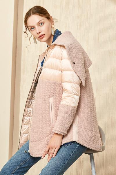 艾莱依羊羔毛拼接修身羽绒服女加厚中长款保暖6055D