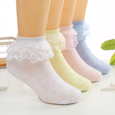 2019秋季新款柔軟舒適女童襪 公主網眼薄兒童花邊襪短襪白色舞蹈寶寶襪小學生襪 SexeMara