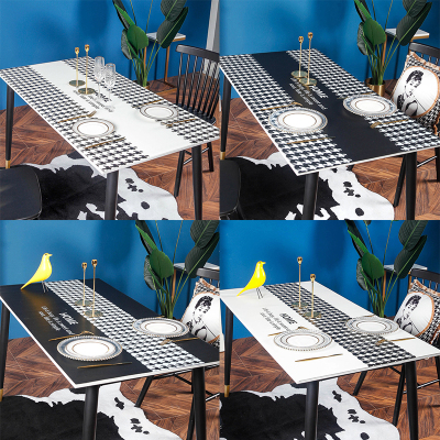 幸福派 北歐輕奢桌布現代簡約防水防油防燙免洗pvc皮革茶幾餐黑白桌墊化妝臺桌布