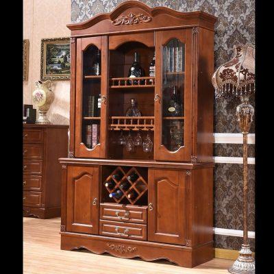 歐式全實木酒柜美式靠墻餐邊柜 定制1.5米組合玻璃客廳飯廳