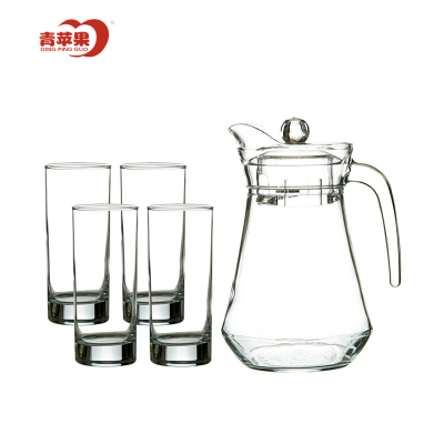 青蘋果玻璃杯套裝冷水壺創意鴨嘴壺大容量涼水壺透明厚底水杯果汁杯水具 5件套EH1002-1-ES1004/L5