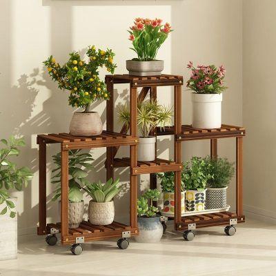 花架子多层室内阳台省空间实木客厅落地式绿萝植物花盆栽木架