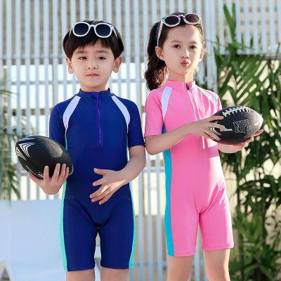 搭啵兔儿童泳衣女防晒女童连体短袖泳装男童泳裤潜水服中大童女孩游泳衣