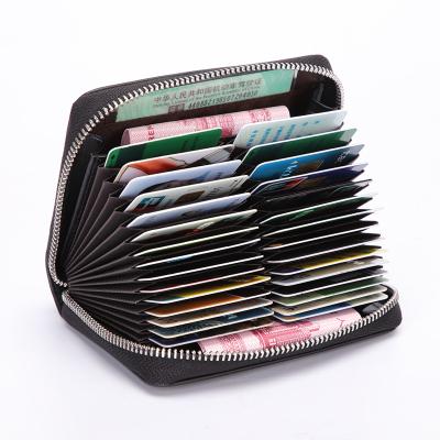 第九城(V.NINE) 卡包男士大容量多卡位卡套防盜刷頭層牛皮多功能便攜風琴式證件包零錢包