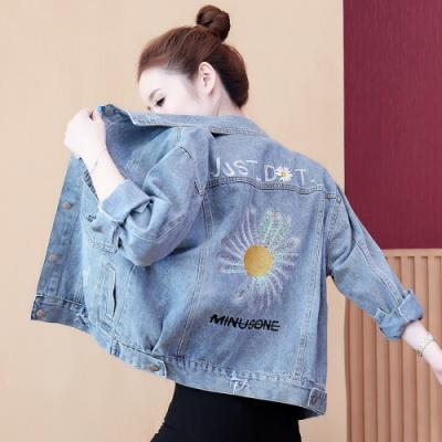 名麗斯牛仔外套女士夾克2020秋裝新款韓版寬松重工刺繡鄒菊原宿風學生百搭ins