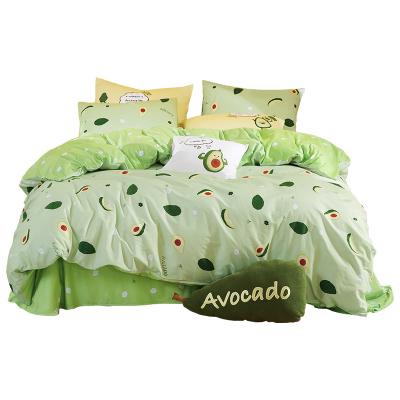 夢潔(MENDALE)家紡網紅款MEE純棉三四件套夢潔全棉被套床單ins少女心水果色1.5m1.8m套件