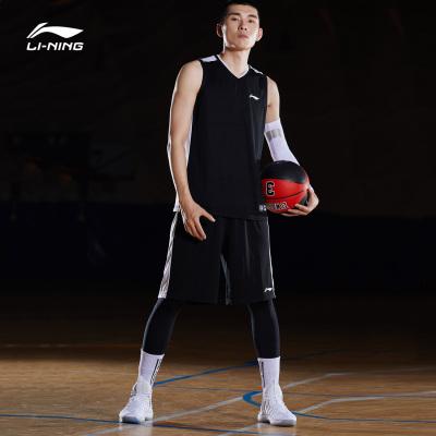 李寧籃球比賽套裝男士籃球系列籃球服針織運動服AATP001