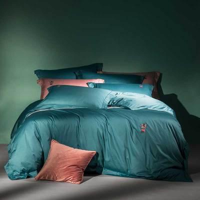 羅萊家紡全棉緞紋四件套1.8米雙人純棉床單被套時尚柔軟套件小西幾 床品套件純色60支套件小提花超柔工藝1.5床上用品