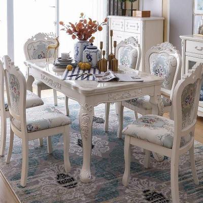蘇寧放心購歐式餐桌椅組合大理石長方形現代簡約家用小戶型飯桌實木簡歐桌子A-STYLE
