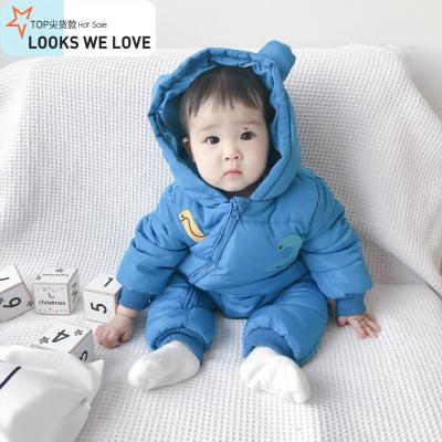 0-3-6-9-10月一岁婴儿儿连体羽绒棉服冬男女宝宝外出哈衣抱衣