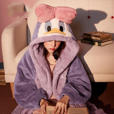 品彩(PinCai)睡衣女秋冬長毛珊瑚絨長款睡袍女法蘭絨睡袍睡裙女家居服可外穿
