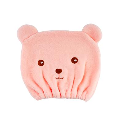 acare艾呵卡通粉色动物造型沐浴棉干发帽快速吸水成人毛巾擦头发包头巾儿童家用沐浴帽