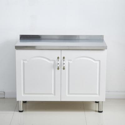 櫥柜廚房柜簡易櫥柜定制櫥柜碗櫥柜灶臺柜水池柜不銹鋼廚柜經濟型 2門平面 1米