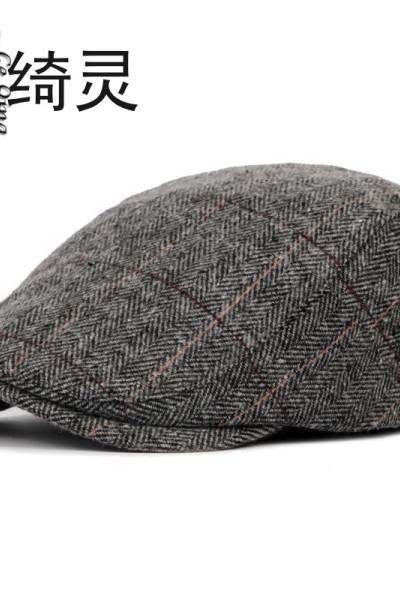 楚綺靈秋冬帽子男士中老年人鴨舌前進帽 英倫風經典格紋毛呢貝雷帽