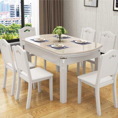 HOTBEE北欧大理石可伸缩餐桌椅组合折叠烤漆实木现代简约餐桌家用餐厅