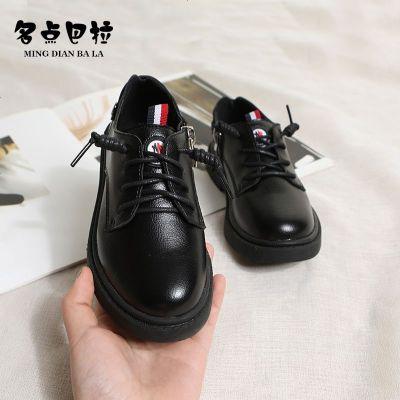 女童黑色皮鞋2019春秋季新款兒童英倫風男童單鞋子軟底豆豆公主鞋