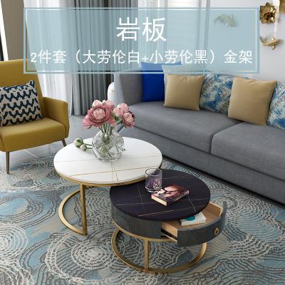 唐臻巖板茶幾電視柜組合輕奢風簡約戶型客廳家用北歐小圓形大理石桌 2件金架(70勞倫白50勞倫黑)cm 整裝