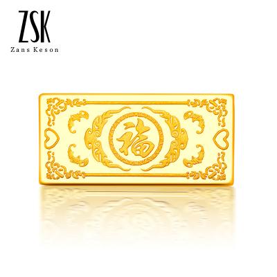 【支持回購】ZSK珠寶 百福圖 10克 9999足金金條中國黃金投資金條 投資收藏系列