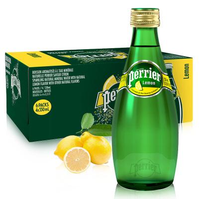 巴黎水(Perrier)檸檬味330ml*24瓶含氣天然礦泉水 法國進口氣泡水