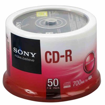 索尼 sony刻录光盘 CD-R 48速 50片装 cd刻录盘 空白光盘 一次性刻录盘 700兆/张 车载MP3刻录光盘
