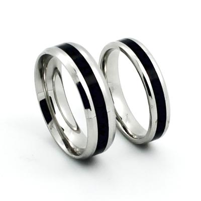 醉月 潮款个性黑白时尚钛钢韩版男女士指环饰品情侣戒指对戒 情人节礼物