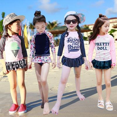 兒童泳衣小女孩中大童分體裙式長袖防曬可愛公主學生女童寶寶泳裝