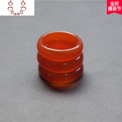 正品紅瑪瑙玉髓玉戒指男女款指環款尾戒情侶食指簡約 Chunmi